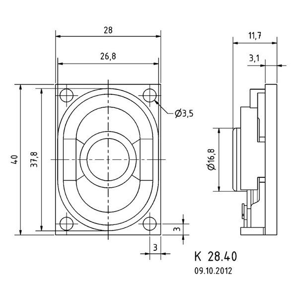 VISATON Kleinlautsprecher mit Papiermembran, sehr geringe Baugröße, 2,8 x 4,0 cm, K 28.40 / 8 Ohm