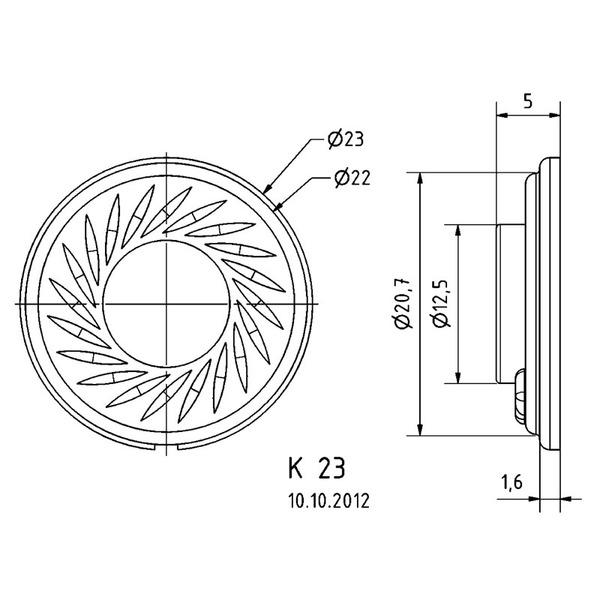 VISATON Kleinlautsprecher mit Kunststoffmembran (Mylar), geringe Baugröße, Ø 2,3 cm, K 23 / 8 Ohm