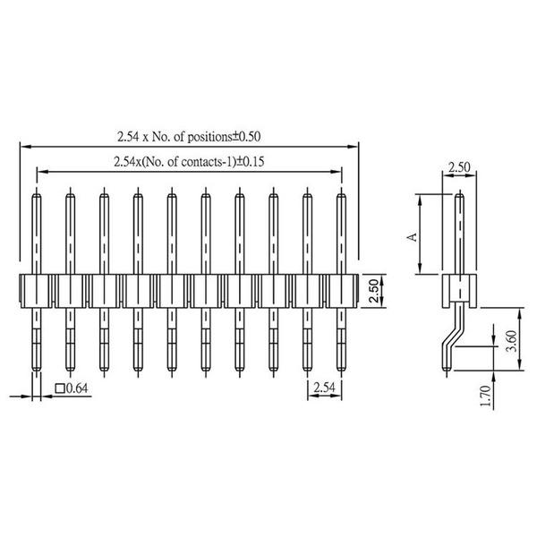 econ connect Stiftleiste PH1S10GOTB, 1x 10-polig, abgewinkelt, RM 2,54 mm SMT
