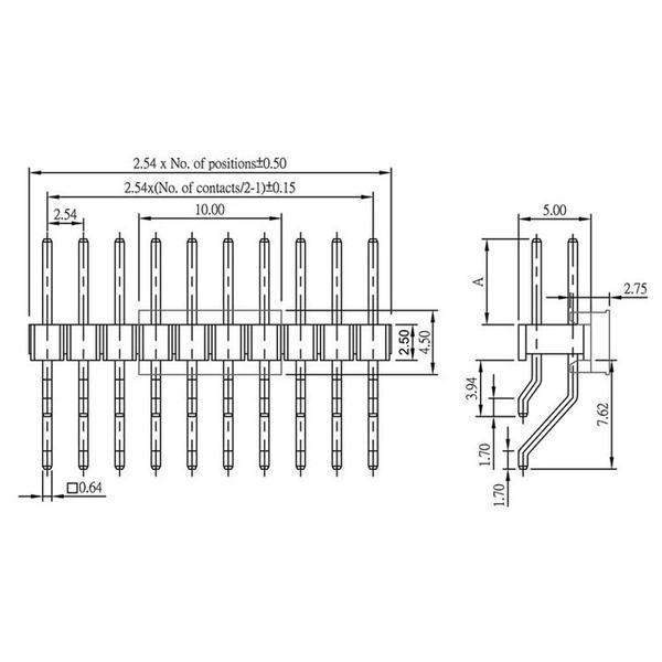 econ connect Stiftleiste PH1D20GOTB, 2x 10-polig, abgewinkelt, RM 2,54 mm SMT