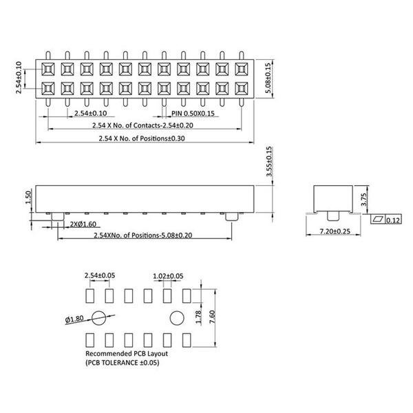 econ connect Buchsenleiste FHS35D6GOT, 2x 3-polig, Körperhöhe 3,55 mm, SMT, nicht trennbar