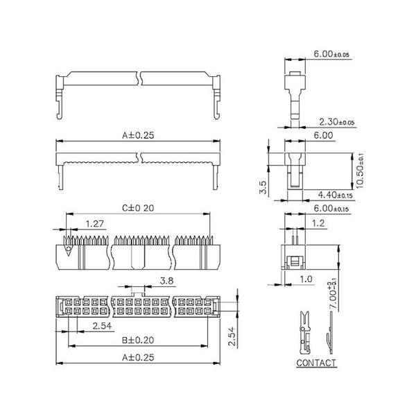 econ connect Pfostenverbinder PV10, 10-polig, 2-reihig, inkl. Zugentlastung