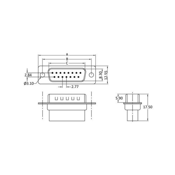 econ connect Sub-D-Stiftleiste ST25CR, 25-polig, Crimpmontage