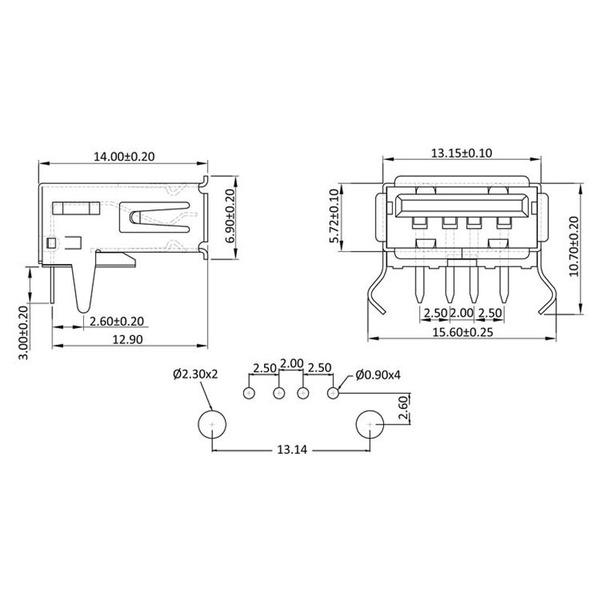 econ connect USB-Buchse 2.0 Typ A USBBU1A, Printmontage, gewinkelt