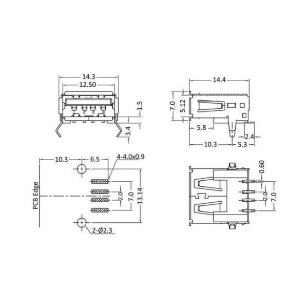 econ connect USB-Buchse 2.0 Typ A UBU1ASMD, SMT