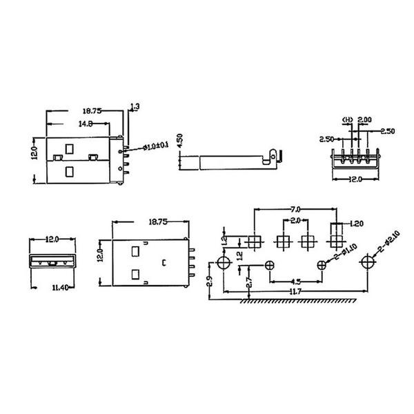 econ connect USB-Stecker 2.0 Typ A US1AF, Leiterplattenmontage