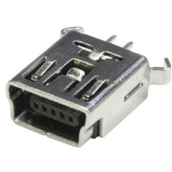 econ connect Mini USB-Buchse Typ B MUB1B5H, 5-polig, Printmontage, stehend