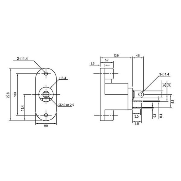 econ connect DC-Einbaubuchse DC17JD25, 2,5 mm, vertikal