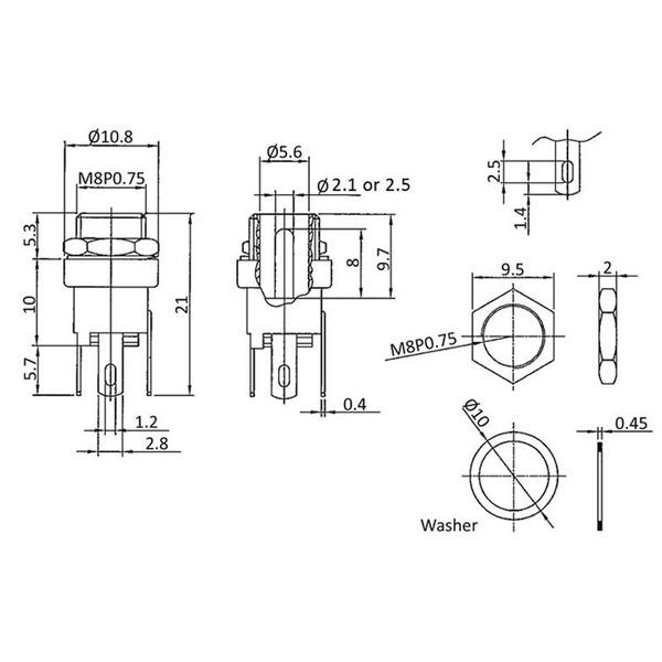 econ connect DC-Einbaubuchse DCE5AL, 2,1 mm, vertikal