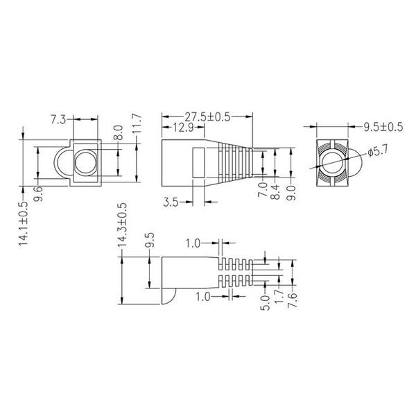 econ connect Knickschutz SB8SW, Kabeleinlassöffnung Ø 5,7 mm, Länge 27,5 mm, schwarz