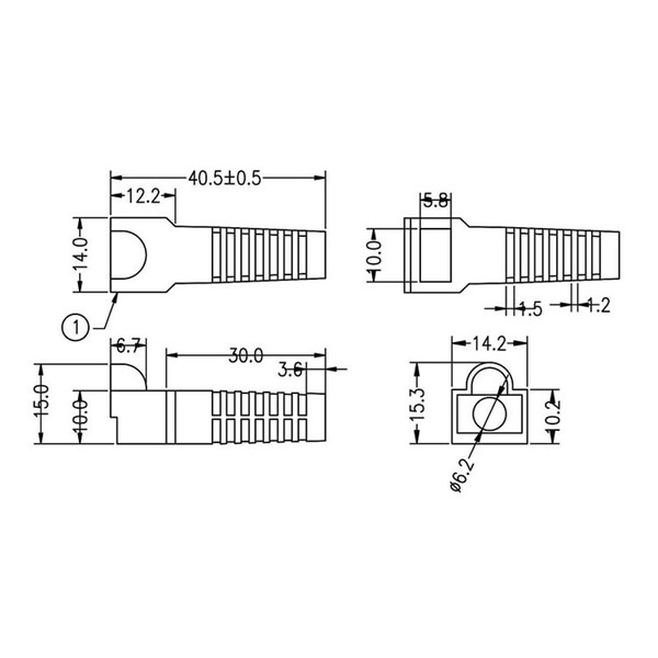 econ connect Knickschutz KSM8SW, Kabeleinlassöffnung Ø 6,2 mm, Länge 40,5 mm, schwarz
