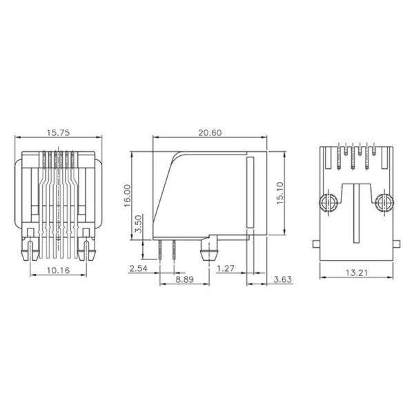 econ connect Modular-Einbaubuchse MEB6/6P, 6P6C, ungeschirmt