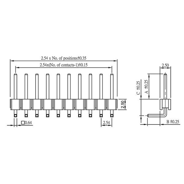 econ connect Stiftleiste SL25WS26GC, 1x 26-polig, gewinkelt, RM 2,54 mm