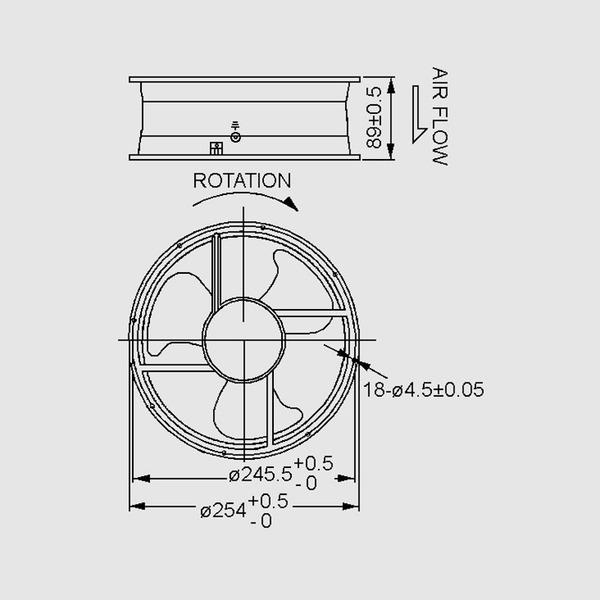 SUNON 230-V-Axial-Lüfter A2259HBT-TC.GN Ø 254 x 89 mm