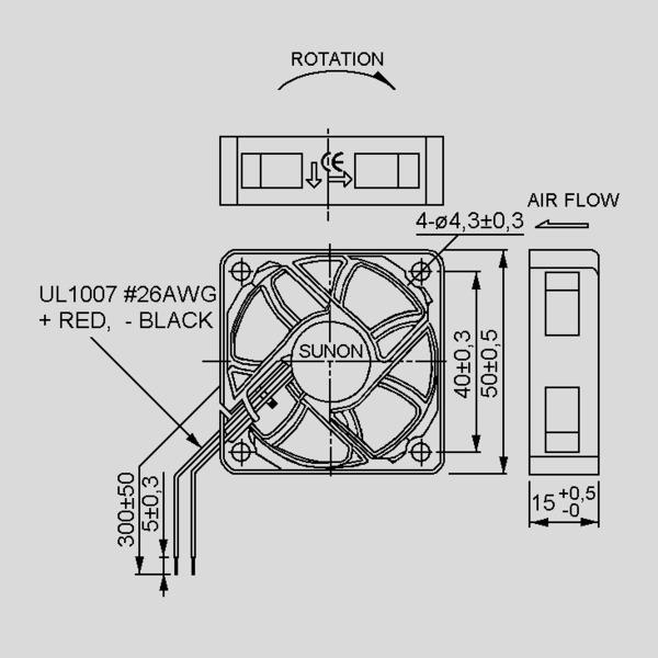 SUNON 12-V-Axial-Lüfter HA50151V4-999 50 x 50 x 15 mm