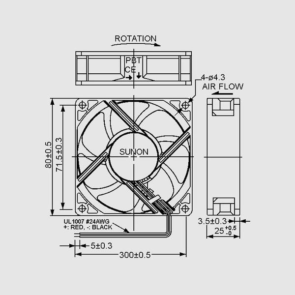 SUNON 12-V-Axial-Lüfter HA80251V4-999 80 x 80 x 25 mm