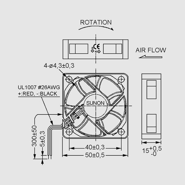 SUNON 12-V-Axial-Lüfter ME50151V1-A99 50 x 50 x 15 mm