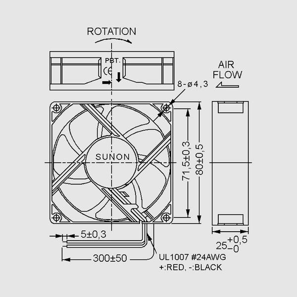 SUNON 12-V-Axial-Lüfter ME80251V1-A99 80 x 80 x 25 mm