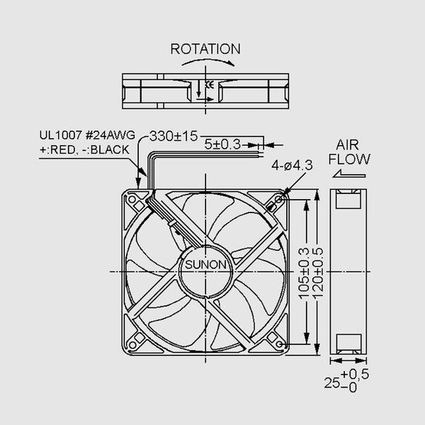 SUNON 12-V-Axial-Lüfter MEC0251V1-A99 120 x 120 x 25 mm