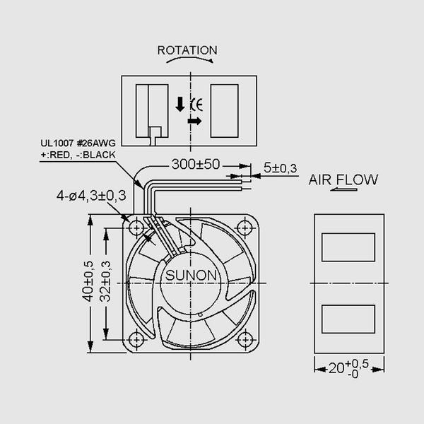 SUNON 12-V-Axial-Lüfter EE40201S2-999, 40 x 40 x 20 mm