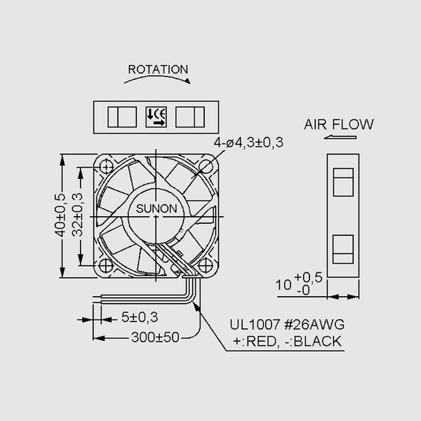 SUNON 12-V-Axial-Lüfter MF40101V2-A99 40 x 40 x 10 mm