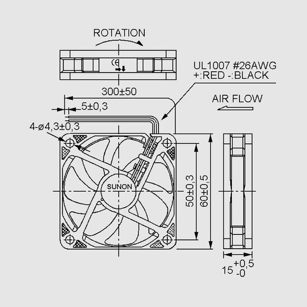 SUNON 12-V-Axial-Lüfter ME60151V1-A99 60 x 60 x 15 mm