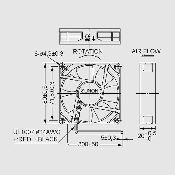 SUNON 12-V-Axial-Lüfter ME80201V1-A99 80 x 80 x 20 mm
