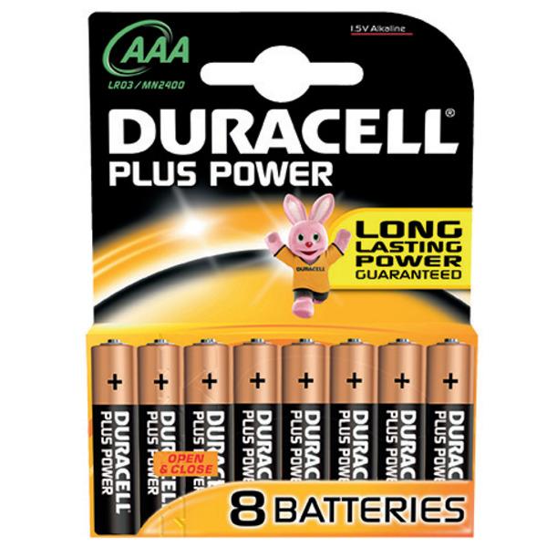 Duracell Plus Alkaline-Batterie MN 2400 LR03 (Micro/AAA), 1,5 V, 8er-Pack