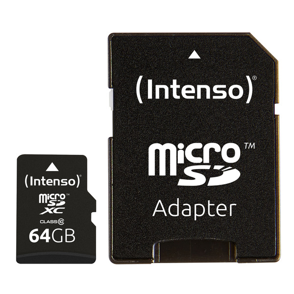 Intenso microSDXC-Karte, Class 10, mit SD-Adapter, 40 MB/s, 64 GB