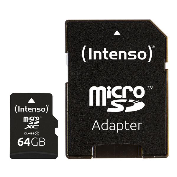Intenso microSDXC-Karte, Class 10, mit SD-Adapter, 40 MB/s, 64 GB
