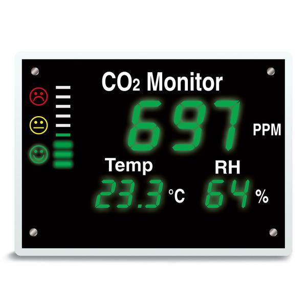 TFA XXL-CO2-Messgerät / CO2-Anzeige AirControl VISION, Kohlendioxid-Anzeige, XXL-LED-Ampel/-Anzeige