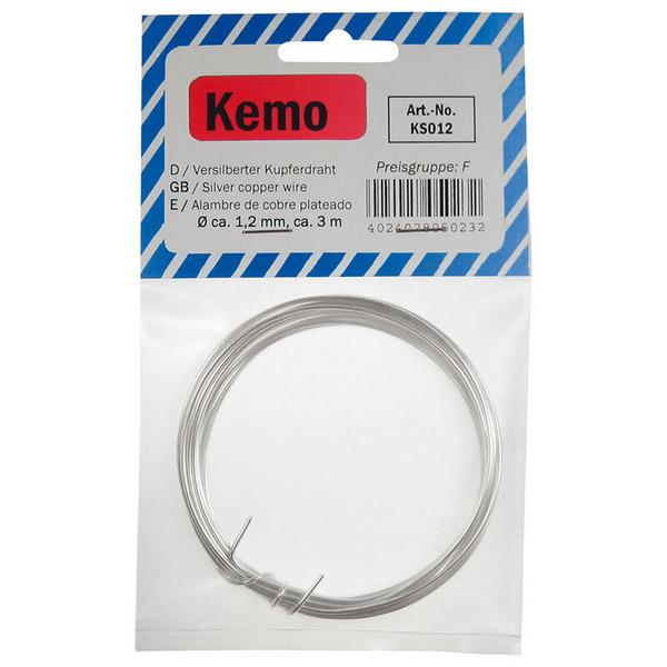 Kemo Versilberter Kupferdraht (Silberdraht) Ø 1,2 mm, 3 m KS012