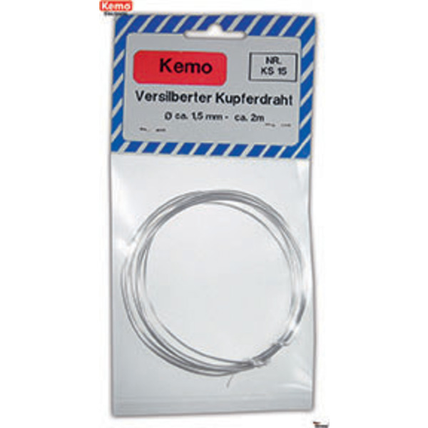 Kemo Versilberter Kupferdraht (Silberdraht) Ø 1,5 mm, 2 m KS015