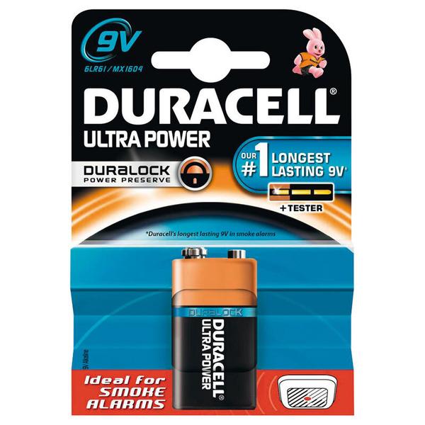 Duracell Ultra Alkaline Batterie 6LR61 (9V-Block), 1er Pack