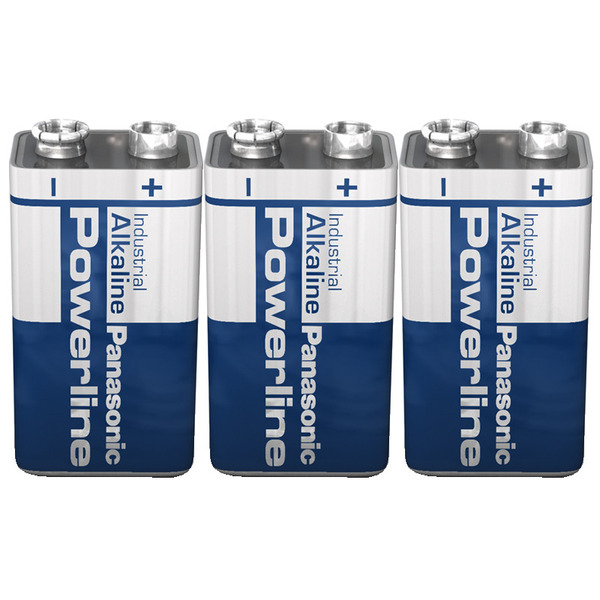 Panasonic Powerline Alkaline Batterie 9 V Block, 3er Set