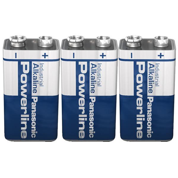 Panasonic Powerline Alkaline Batterie 9 V Block, 3er Set