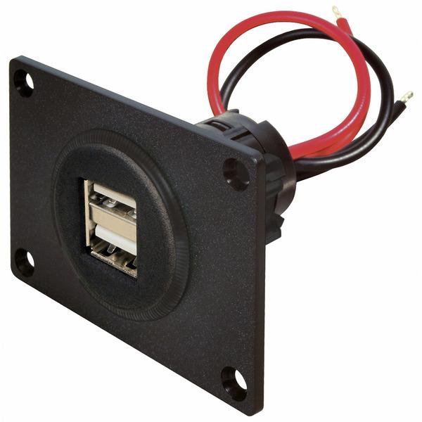 Pro Car USB-Doppelsteckdose 12-24 V mit Montageplatte