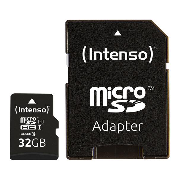 Intenso microSDXC-Karte UHS-I Premium, Class 10, mit SD-Adapter, 45 MB/s, 32 GB