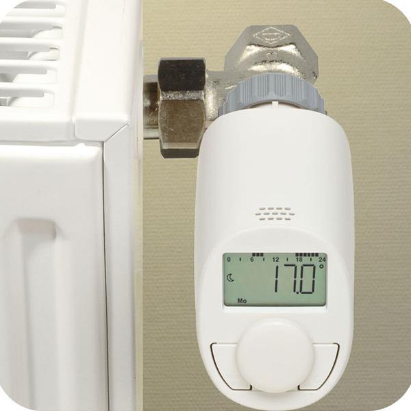 Eqiva 4er-Set Elektronik-Heizkörperthermostat Model N mit Boost-Funktion und leisem Kompaktgetriebe