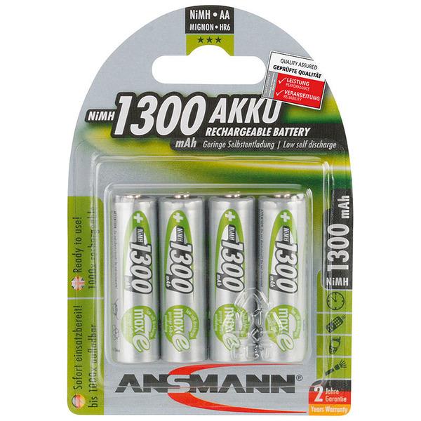 Ansmann NiMH Akku maxE, ready2use Mignon AA 1300mAh, R6 4er Pack
