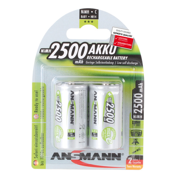 Ansmann NiMH Akku maxE, ready2use Baby C, 2500mAh, R14 2er Pack