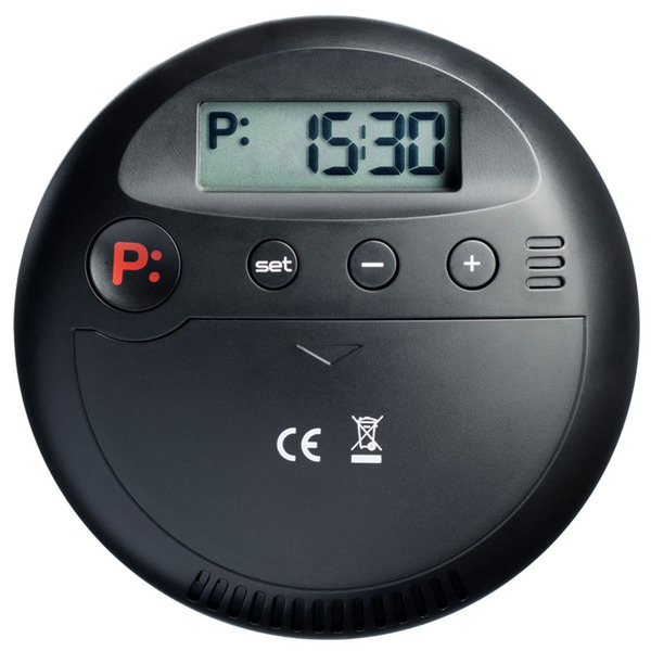 Elektronische Parkscheibe / digitale Parkuhr GoPark, autom. Parkzeiteinstellung, schwarz/silber,rund