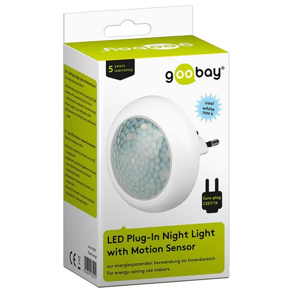 goobay 0,7-W-LED-Nachtlicht rund, mit 120°-Bewegungsmelder