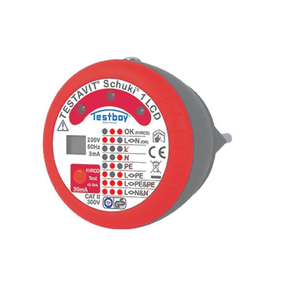 testboy Steckdosen-Prüfgerät Schuki 1 LCD