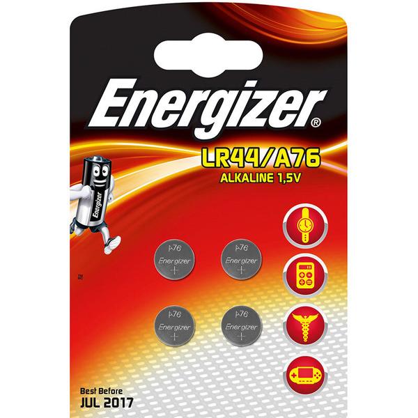 Energizer Alkaline-Knopfzelle, Typ V13GA, LR44, 4er Pack