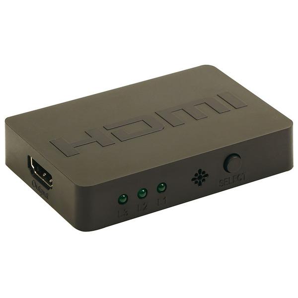 GEMBIRD 3-Port HDMI-Switch DSW-HDMI-34, mit Fernbedienung, bis 4K (2160 p), schwarz