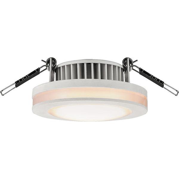 HEITRONIC 6-W-LED-Einbaustrahler rund mit LED-Lichtstreifen, IP44, weiß