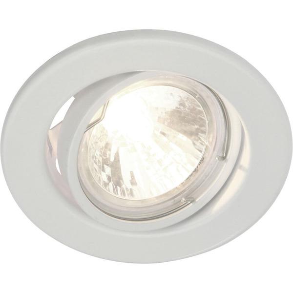 HEITRONIC GU5,3-Einbaufassung, rund, weiß, schwenkbar, IP20