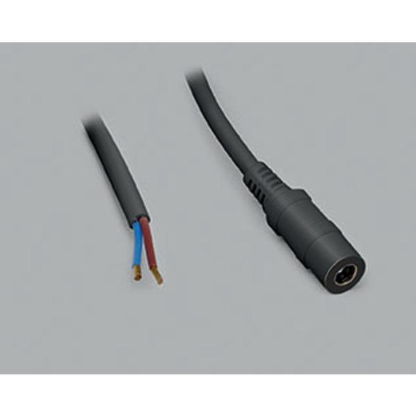DC-Kabel 2 x 0,5 mm² mit DC-Hohlsteckerkupplung 2,1/5,5 mm gerade, 2,5 m, schwarz