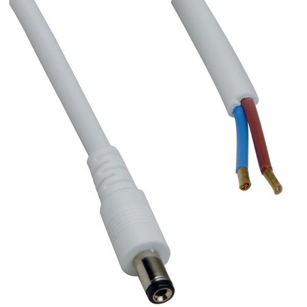 DC-Kabel 2 x 0,5 mm² mit DC-Hohlstecker 2,1/5,5/9,5 mm gerade, 2 m, weiß